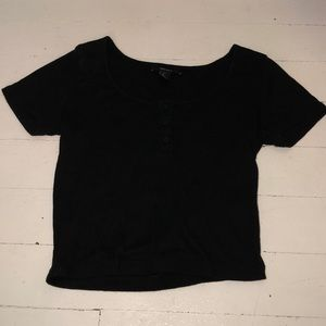Black Cropped Short Sleeve